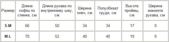 таблица размеров термофутболки Thermoform 14-001