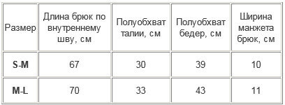 таблица размеров мужские термокальсоны 14-002